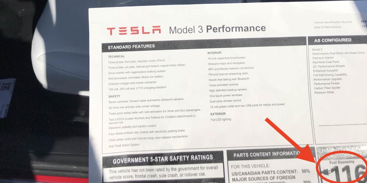 Tesla Model 3 Performance Version Gets Efficiency Of 116 Mpge