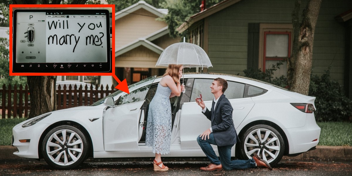 Tesla Model 3 Easter Egg used for a marriage proposal ...