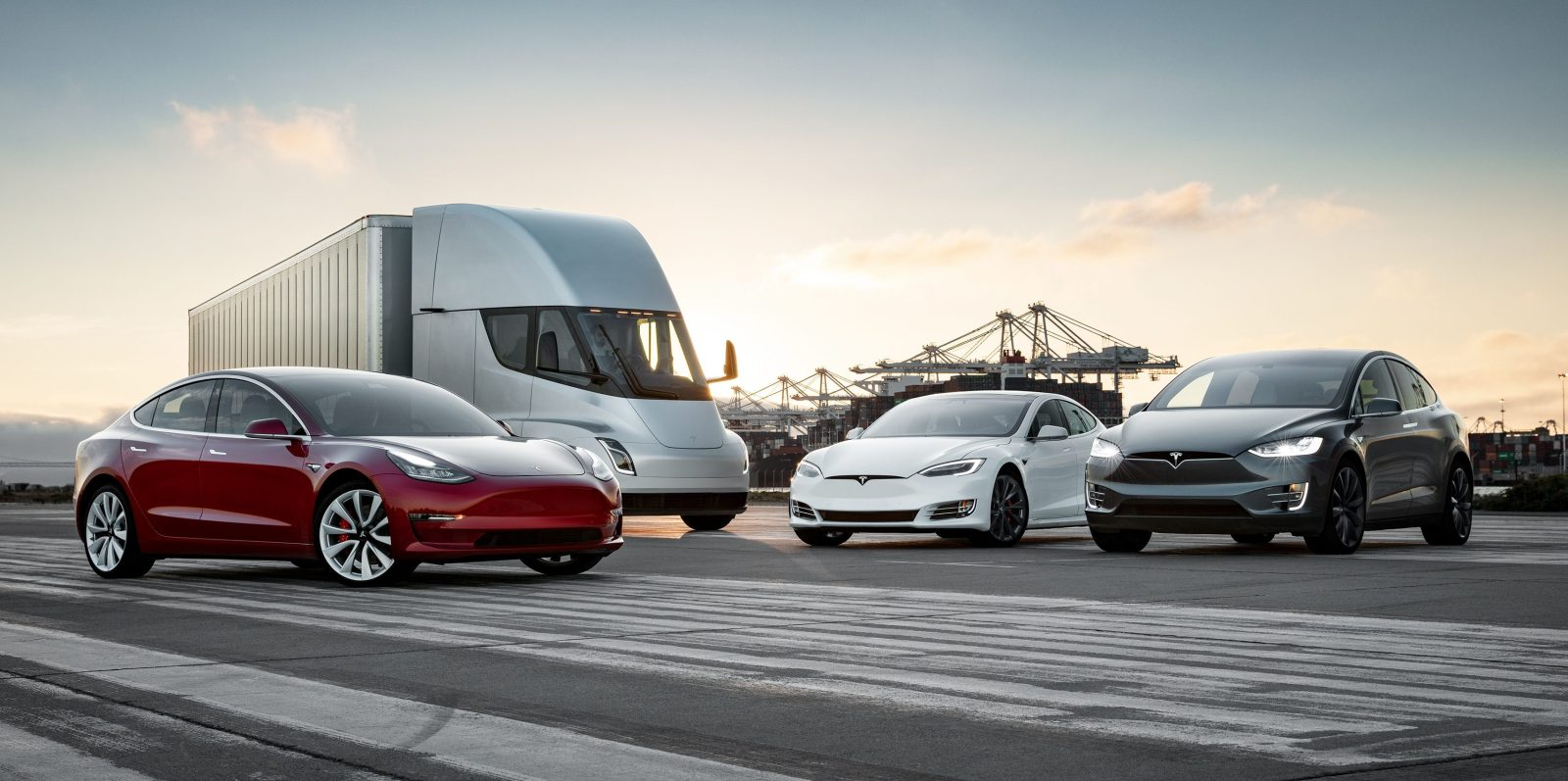 Tesla releases cool 'family photo' with all its vehicles from semi truck to Model 3