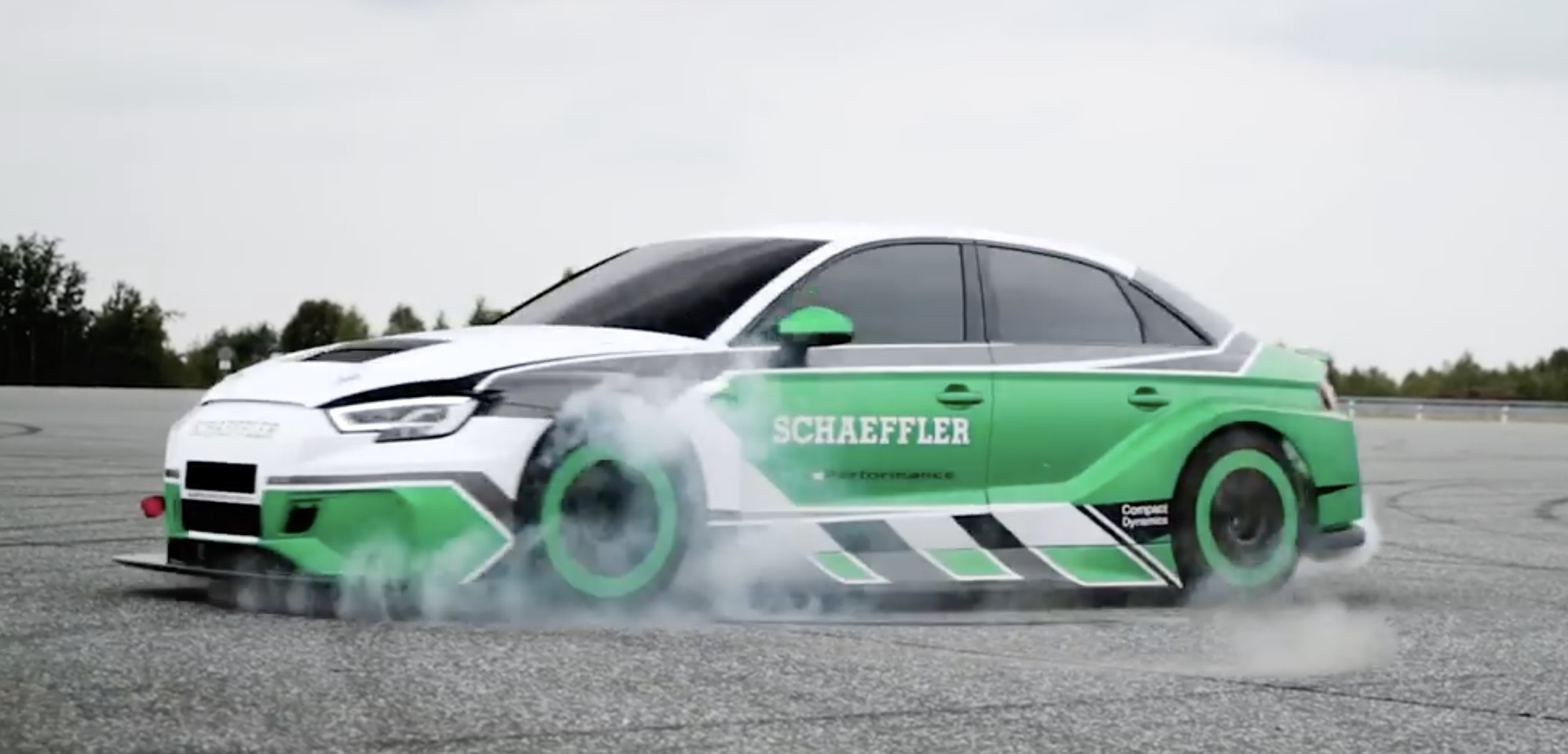 Watch An Audi Rs3 With 4 Formula E Electric Motors Make The Hottest Donut Ever Electrek