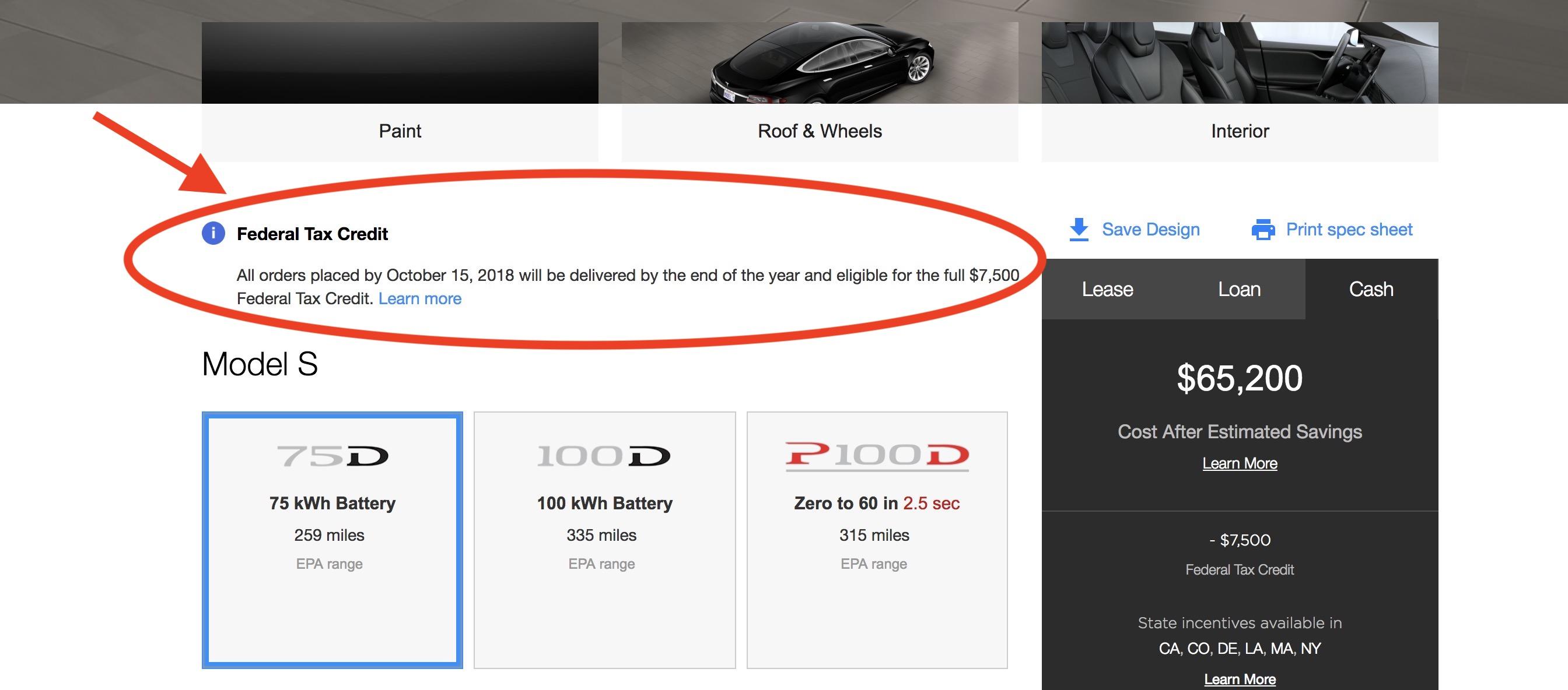 Tesla tax credit 2018