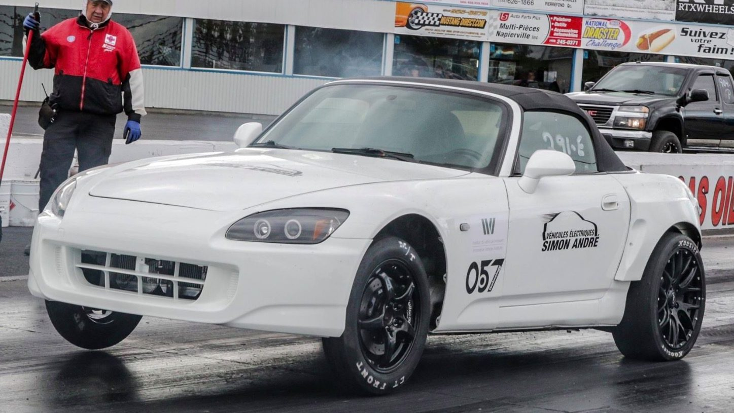 A Tesla-powered Honda S2000 runs quarter-mile in 10 seconds