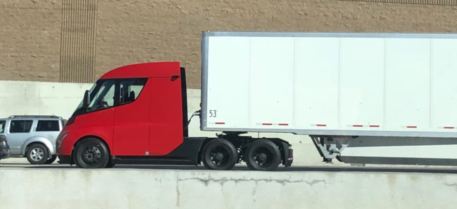 new red tesla semi electric truck prototype spotted in the wild