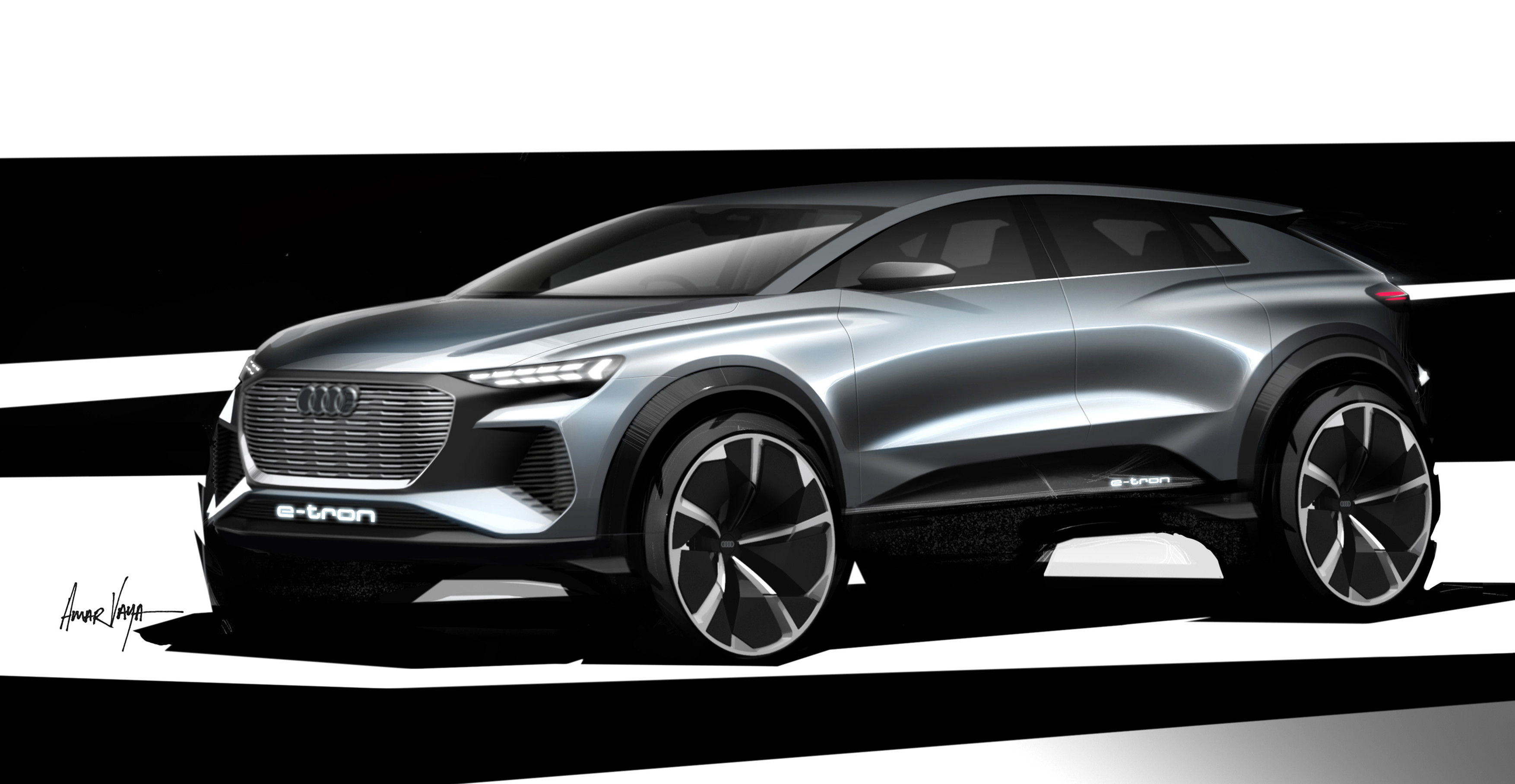 Audi Unveils Design Of Q4 E Tron A New All Electric Compact Suv