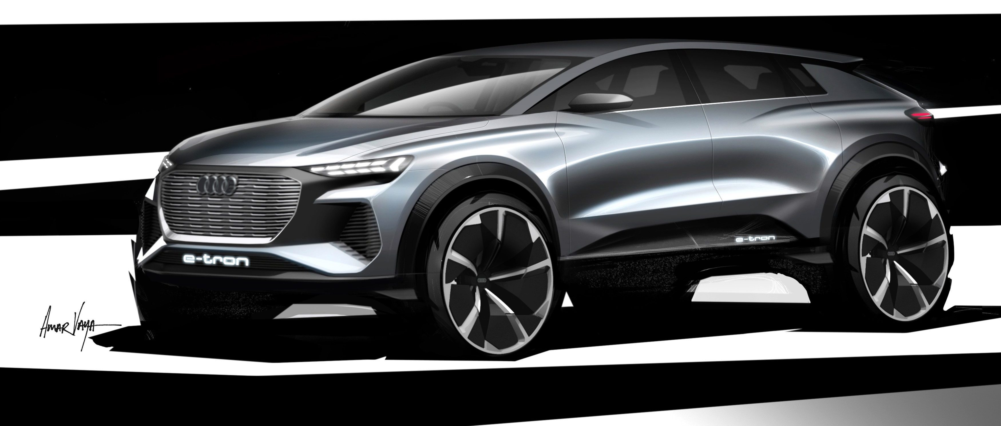 Audi unveils design of Q4 e-tron – a new all-electric compact SUV