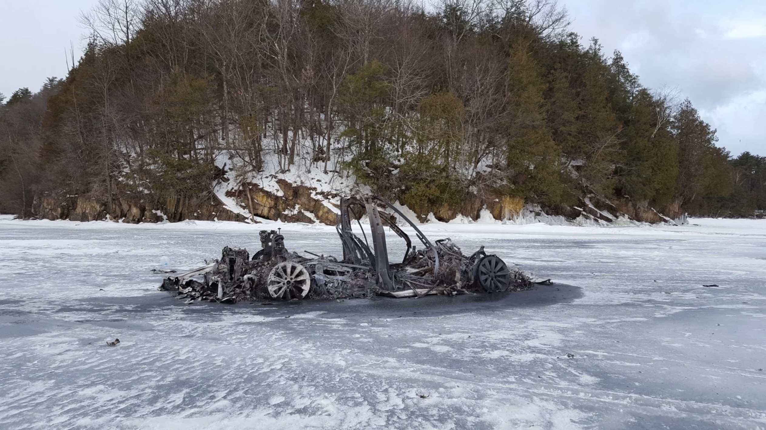 TEsla Model X after fire