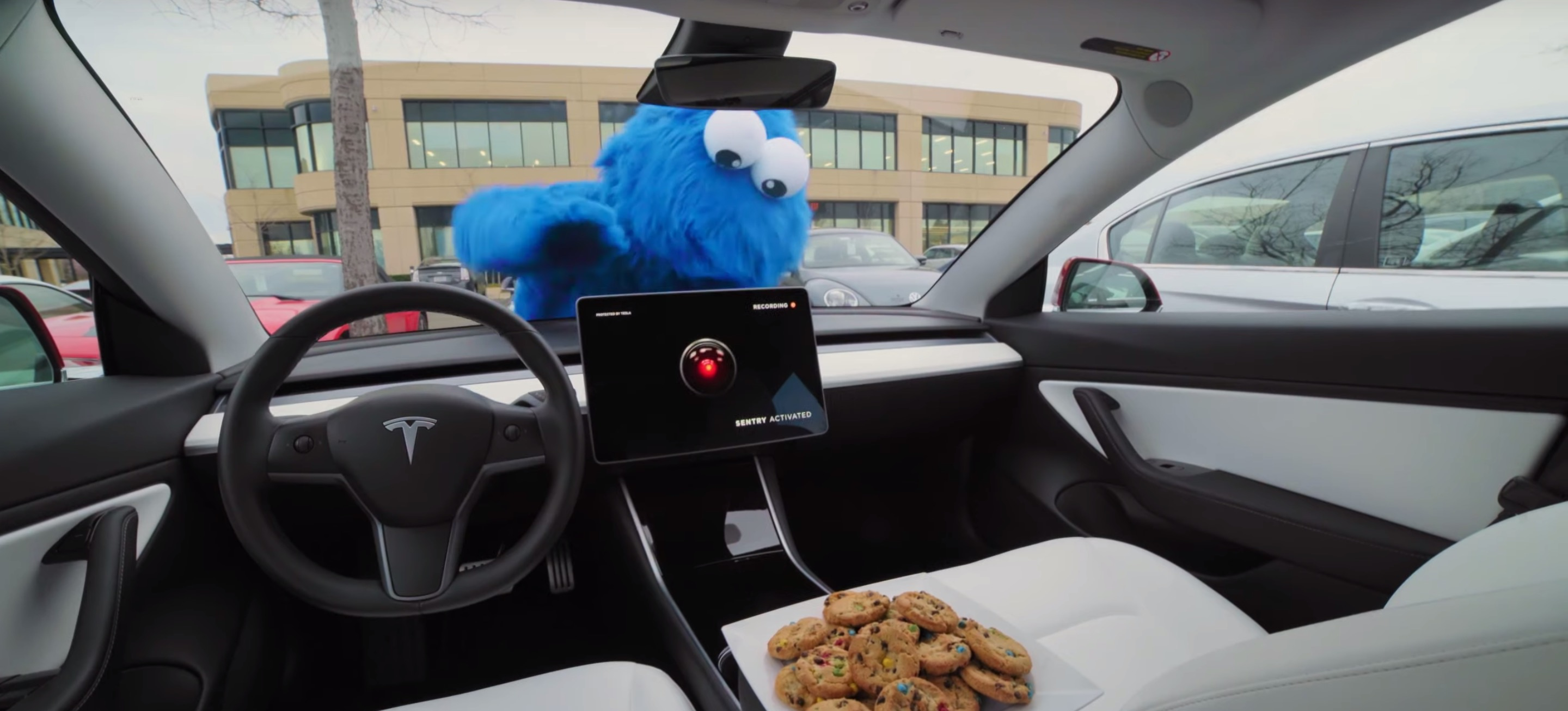 Tesla hires Cookie Monster to demonstrate new Sentry Mode