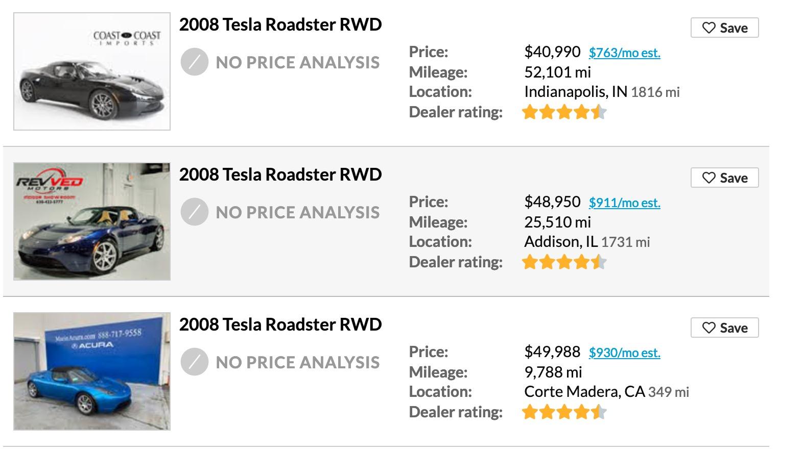 cheap tesla roadster