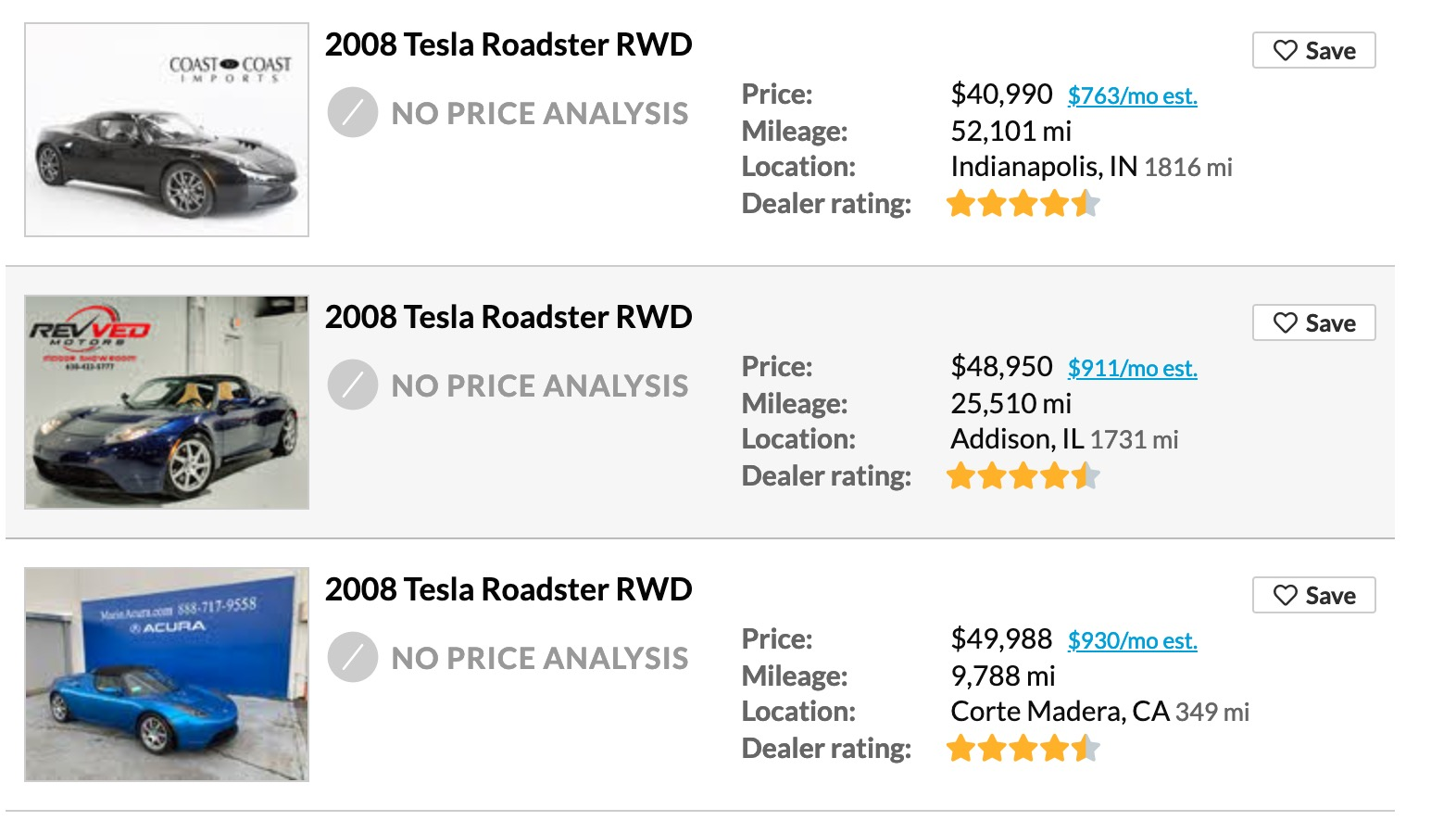 cheap tesla roadster