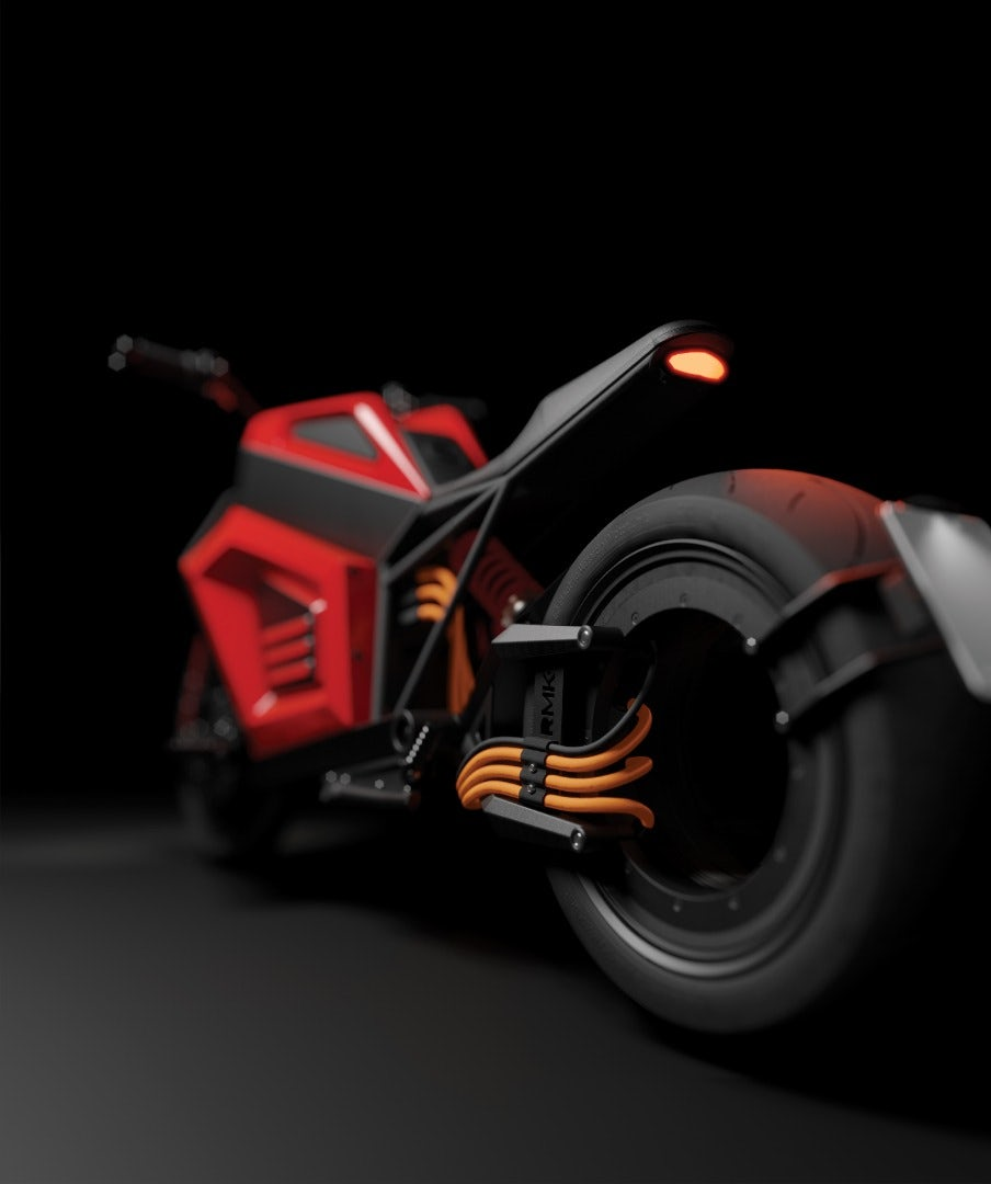 RMK E2 electric motorcycle shows off radical new electric motor design