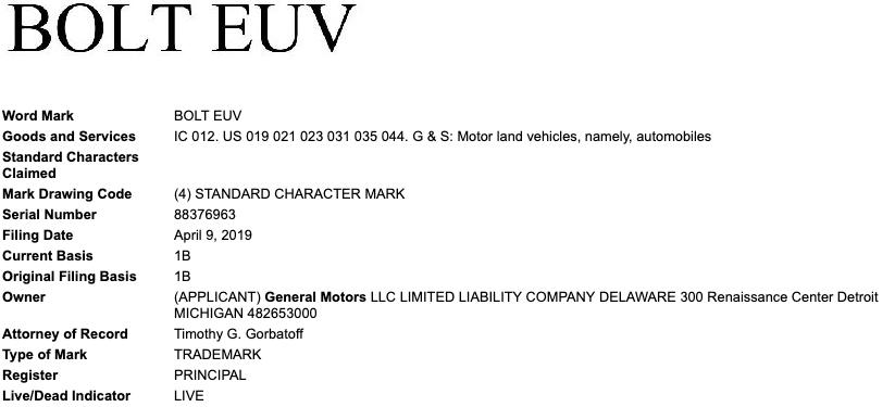 GM files 'Bolt EUV' trademark – hinting at new electric car