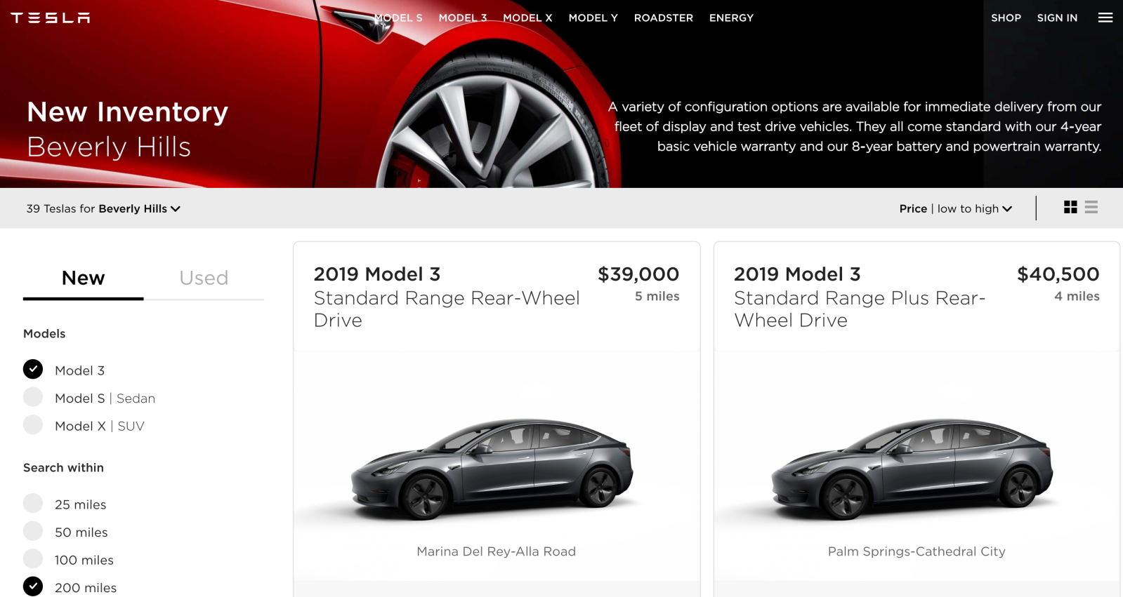 Tesla puts new Model 3 inventory online for browsing and
