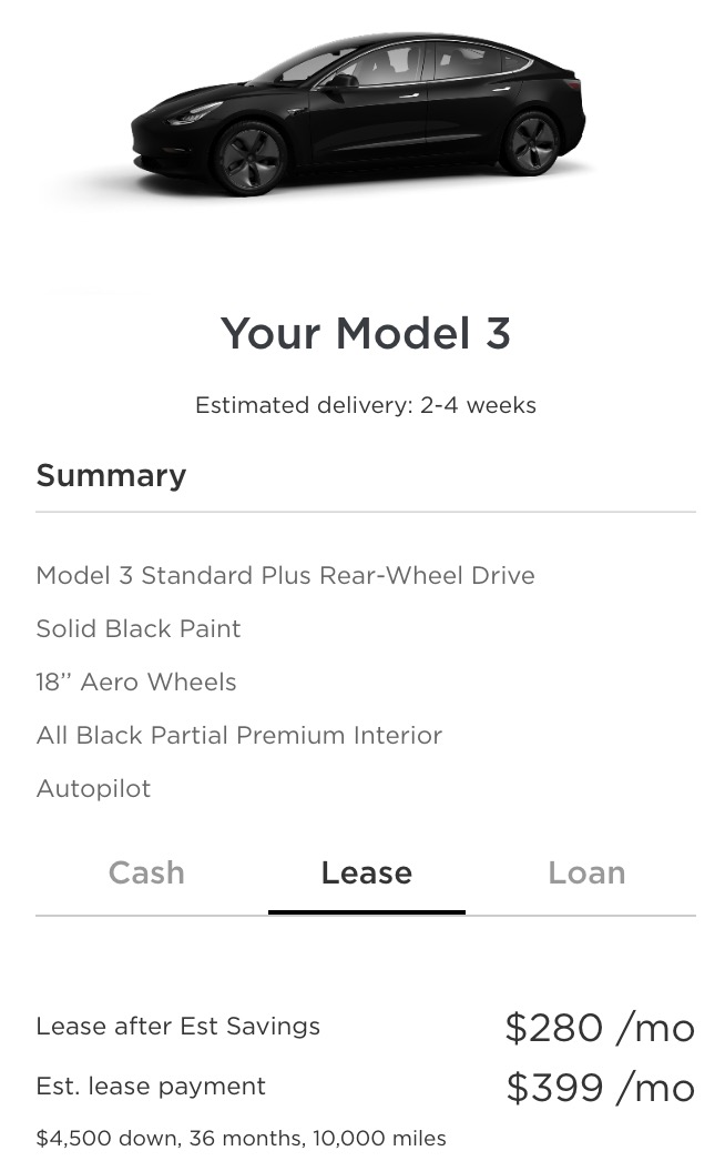Tesla slashes Model 3 monthly lease payment to $399, but increase cash down