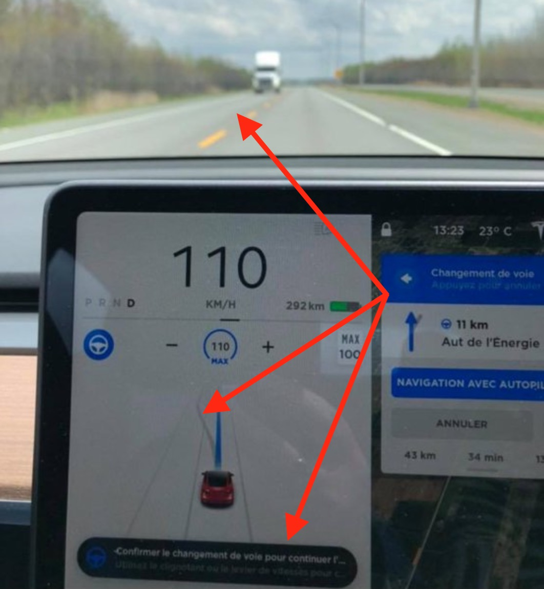 Tesla Autopilot suggests lane change into oncoming traffic