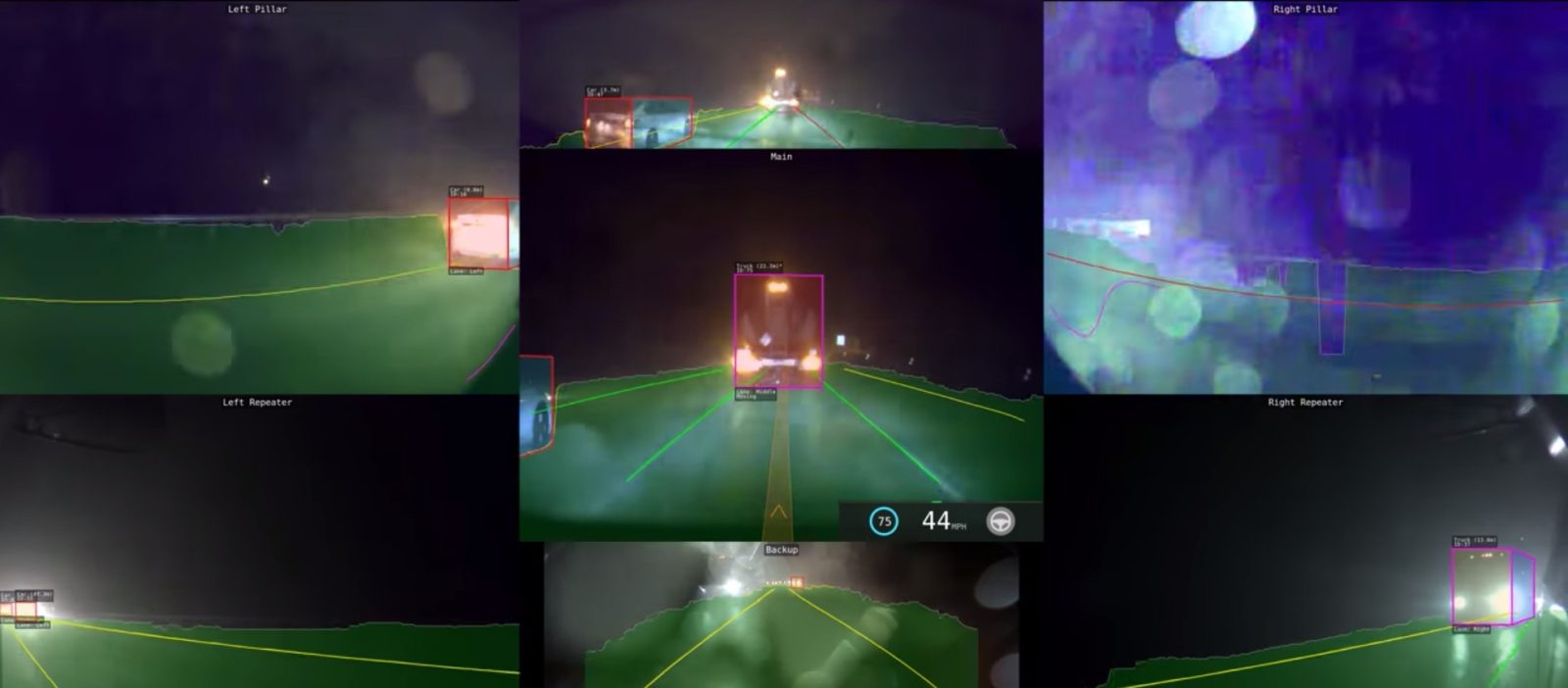 Cameras instead of LIDAR, what Tesla Autopilot can see in a