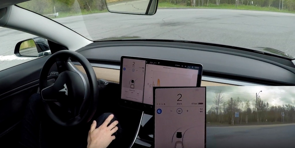Watch Tesla Autopilot reacting to a stop sign and making a right turn