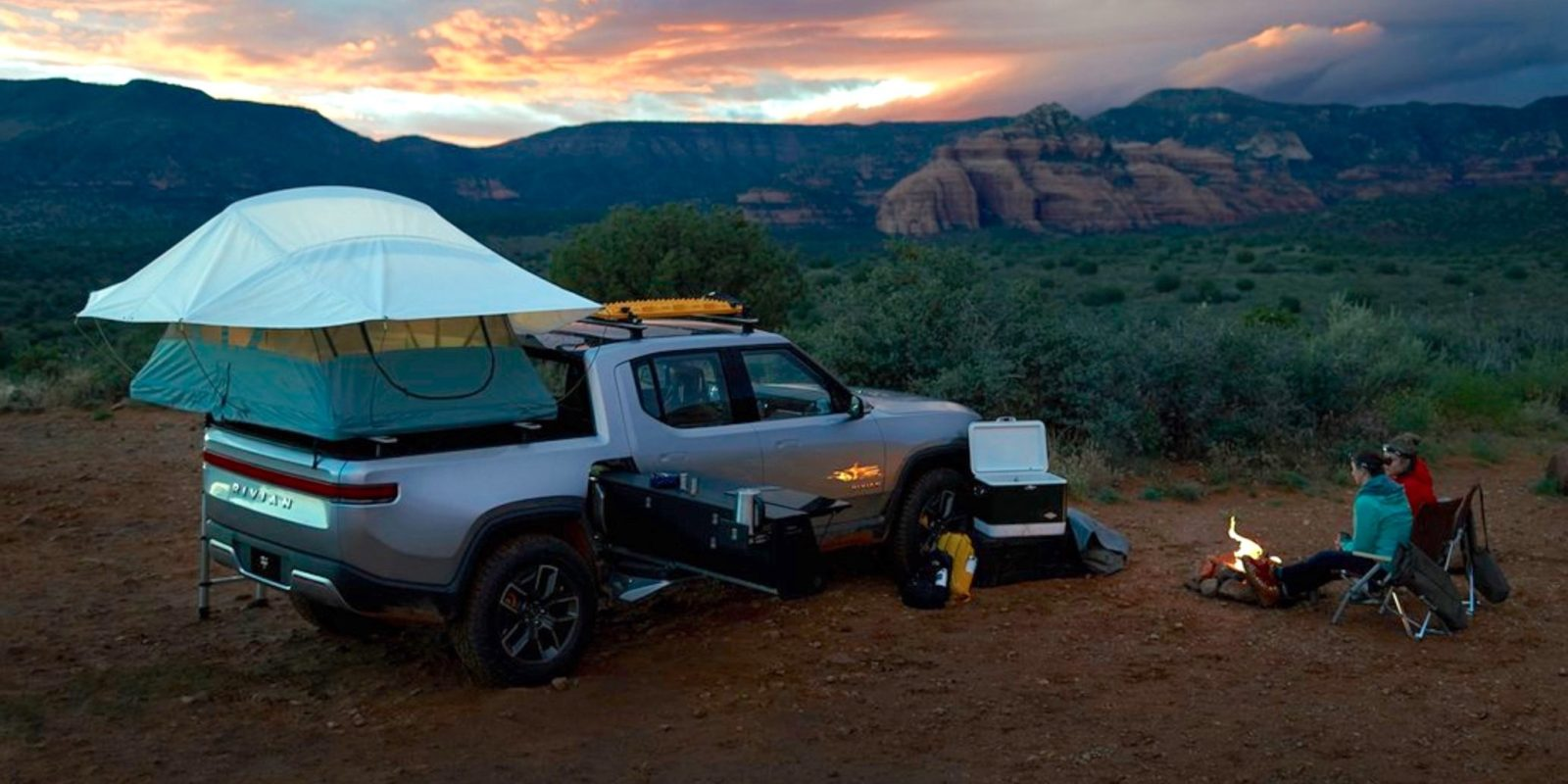 Rivian showcases R1T electric pickup truck as zero-emission camper