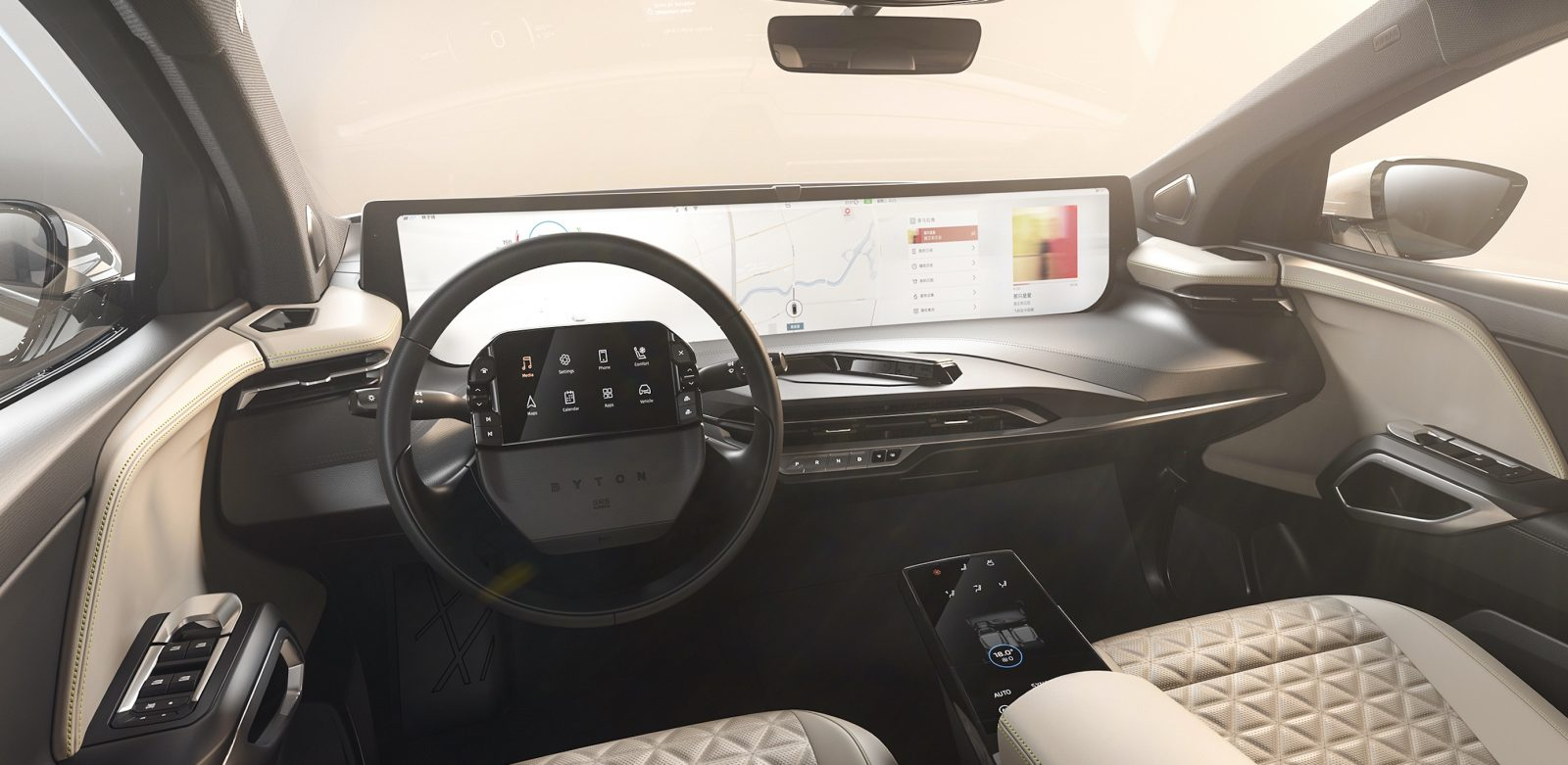 Byton unveils interior with insane screen real-estate for its production electric car