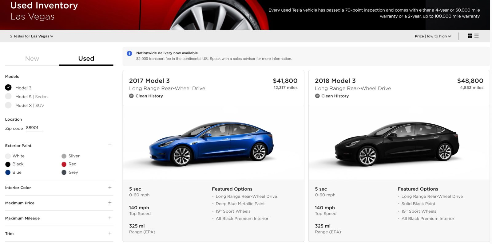 Tesla drops a bunch more used Model 3 inventory at