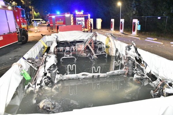 Tesla vehicle caught on fire while plugged in at