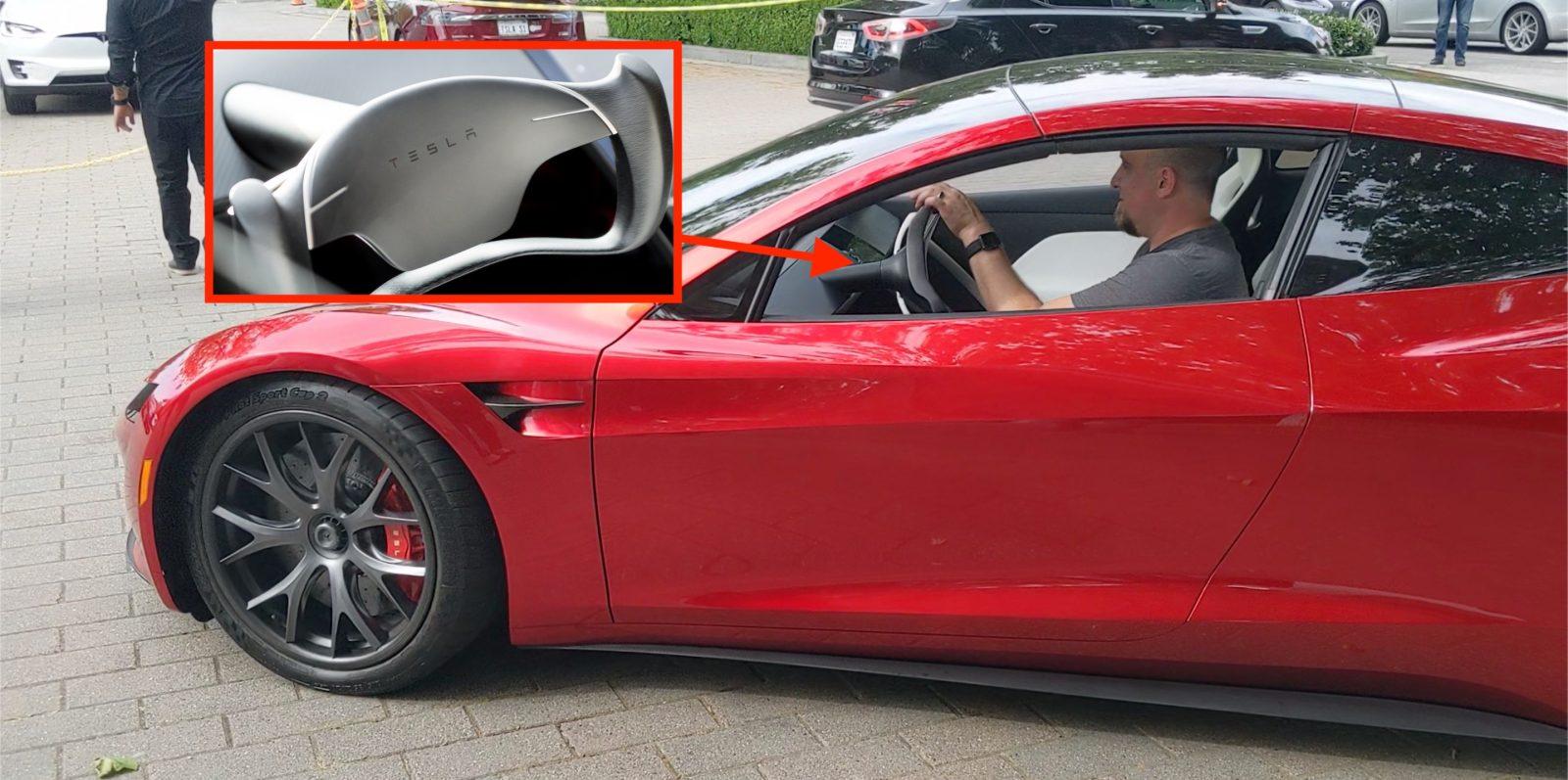 Watch Tesla Roadster's special steering wheel in action