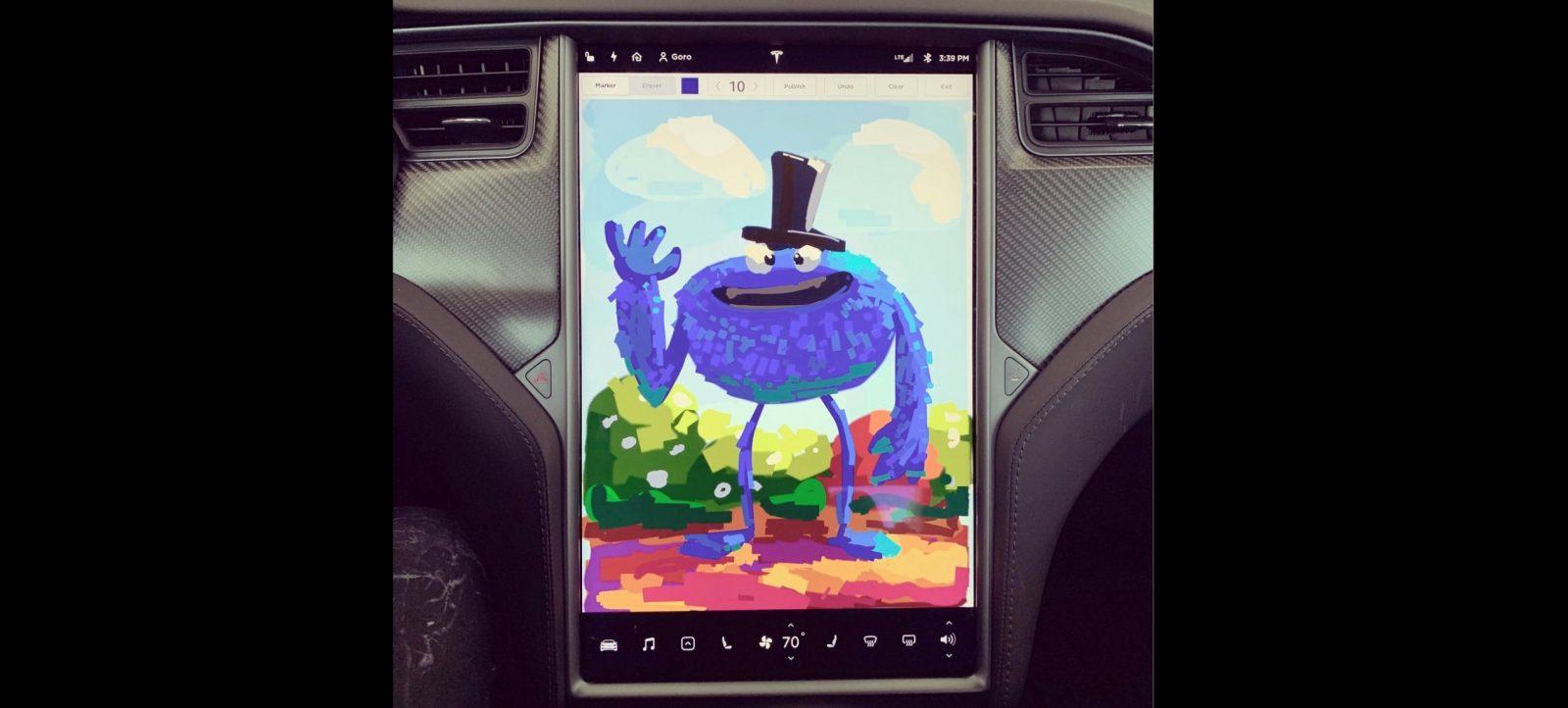 Tesla updates in-car sketchpad, will release karaoke feature