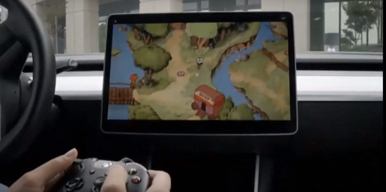 First look at Tesla's new in-car video game system with Cuphead and racing game