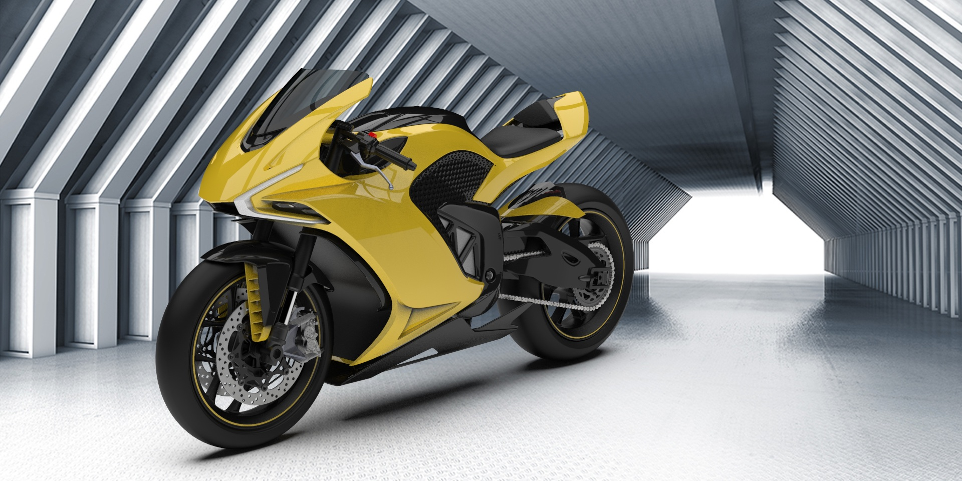 New variable geometry electric motorcycle with 360º radar and rear camera