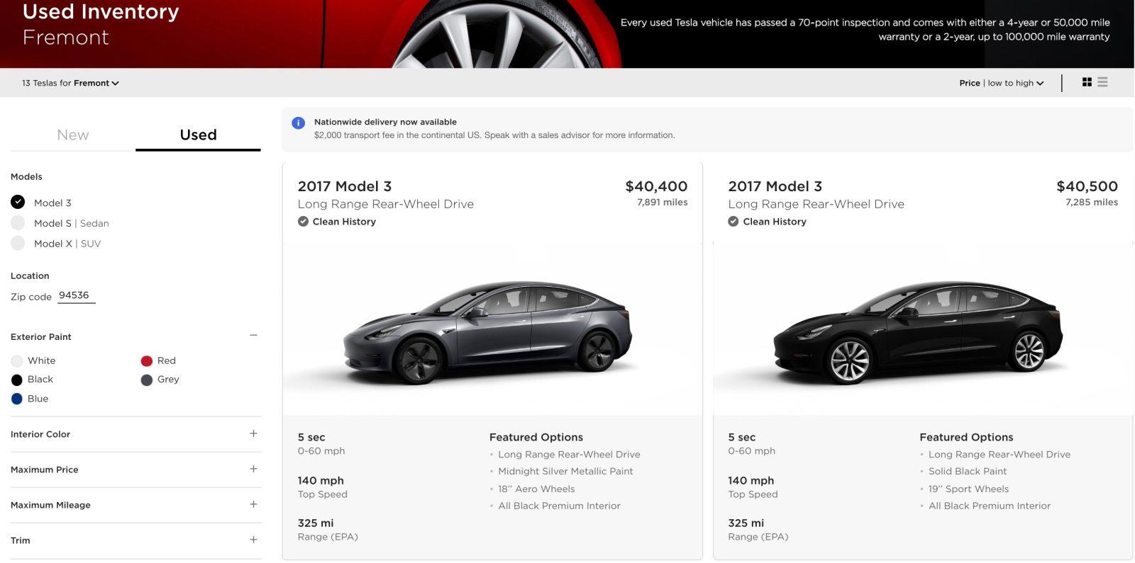 Tesla starts selling used Model 3 vehicles online