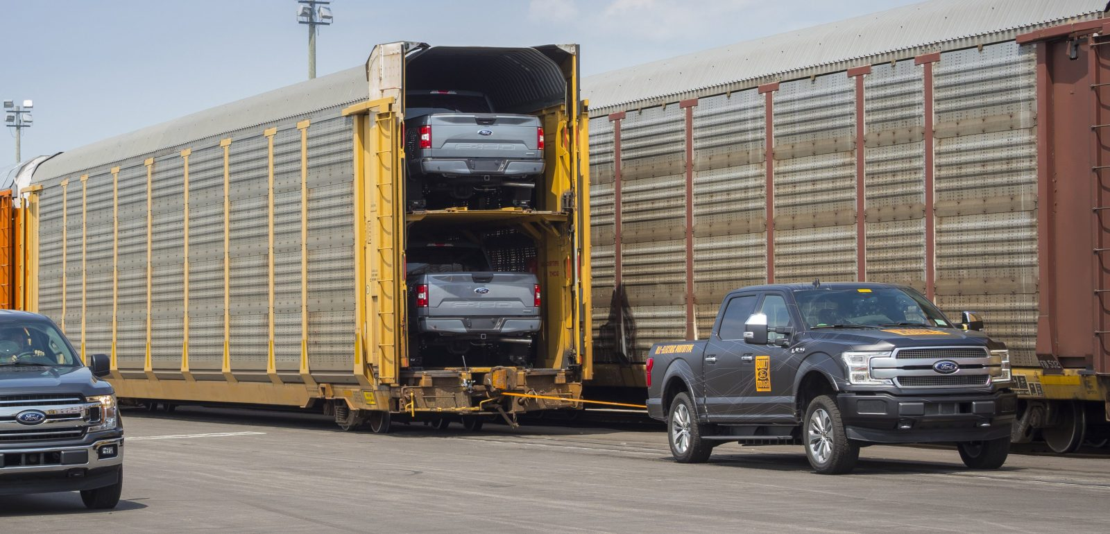 Watch Ford F-150 all-electric pickup prototype tow over 1 million lbs of train carts