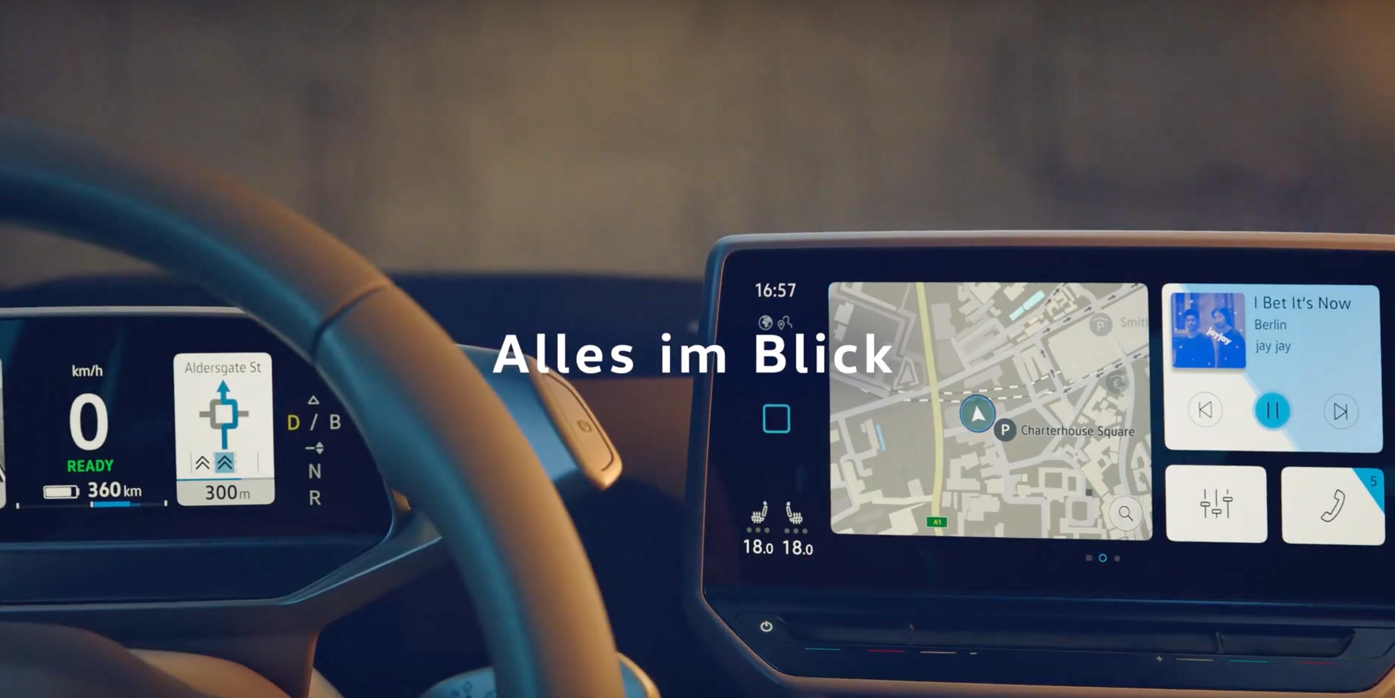 Volkswagen showcases ID 3 electric hatchback's dashboard in