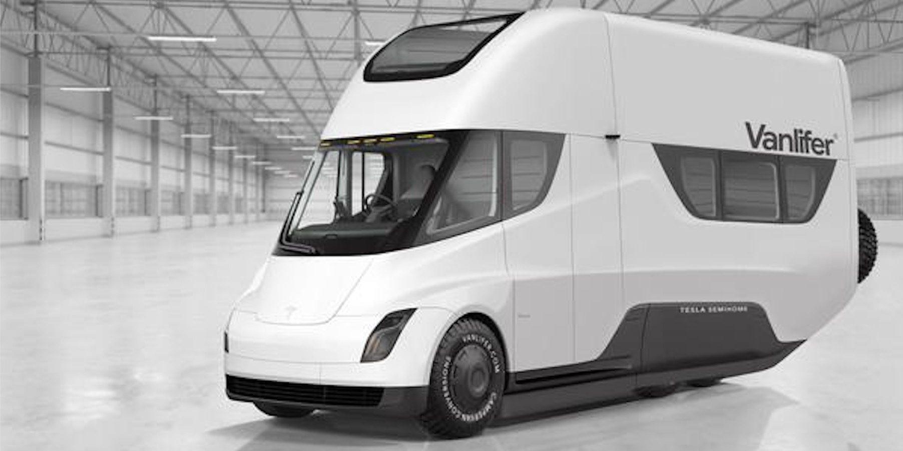 Tesla Semi electric motorhome concept: a zero-emission and self-driving home - Electrek