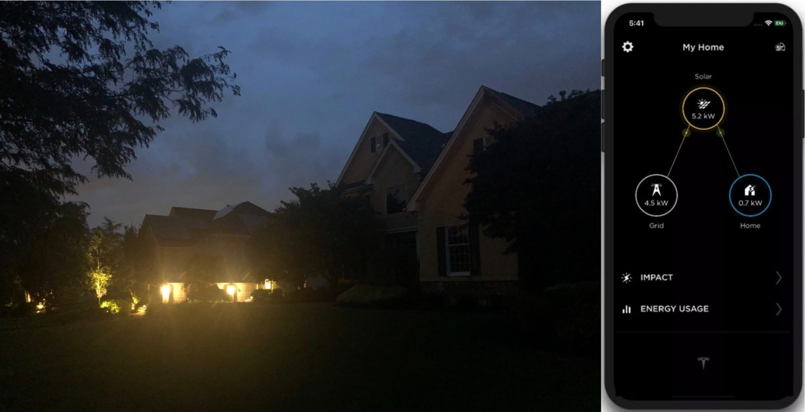 Tesla shares picture of Powerwall home with lights on while outage plunges neighborhood in the dark