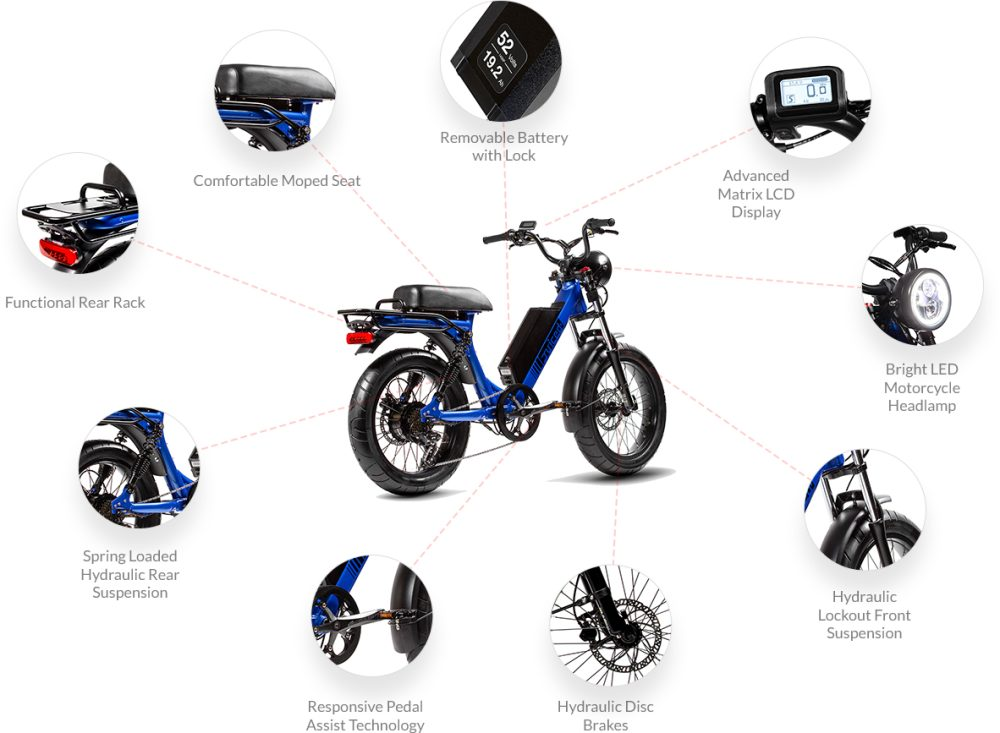Juiced Scorpion electric moped offers 28 mph speed and 75