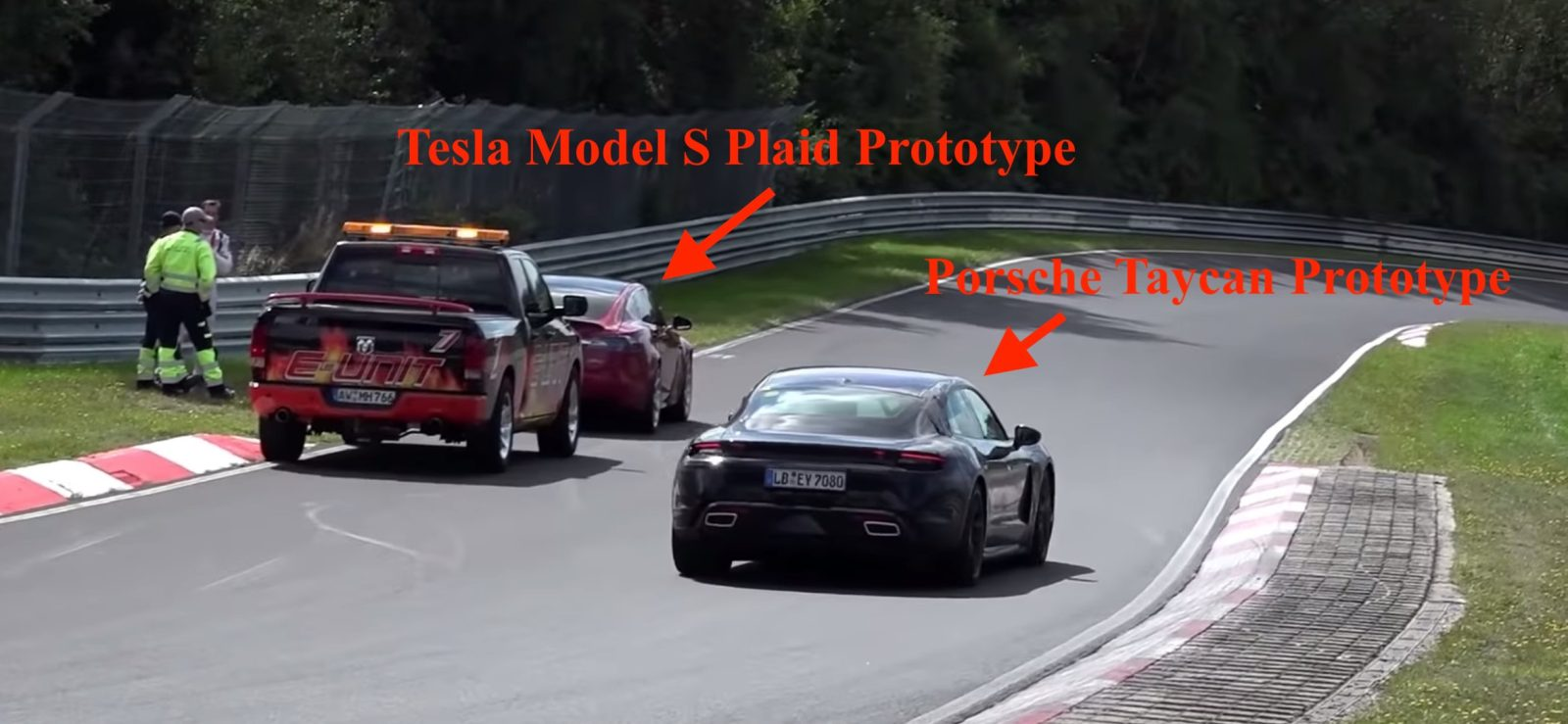 Tesla Model S prototype breaks down, Porsche Taycan drives by, and TSLA shorts go crazy