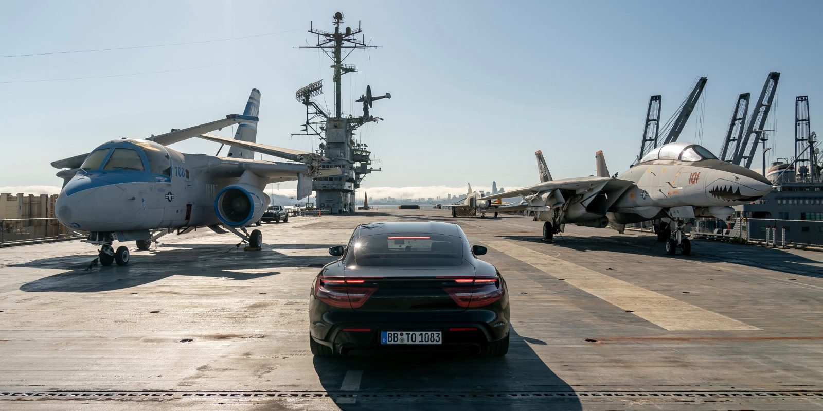 Porsche Taycan does 0-90 mph acceleration in 10 secs on an aircraft carrier