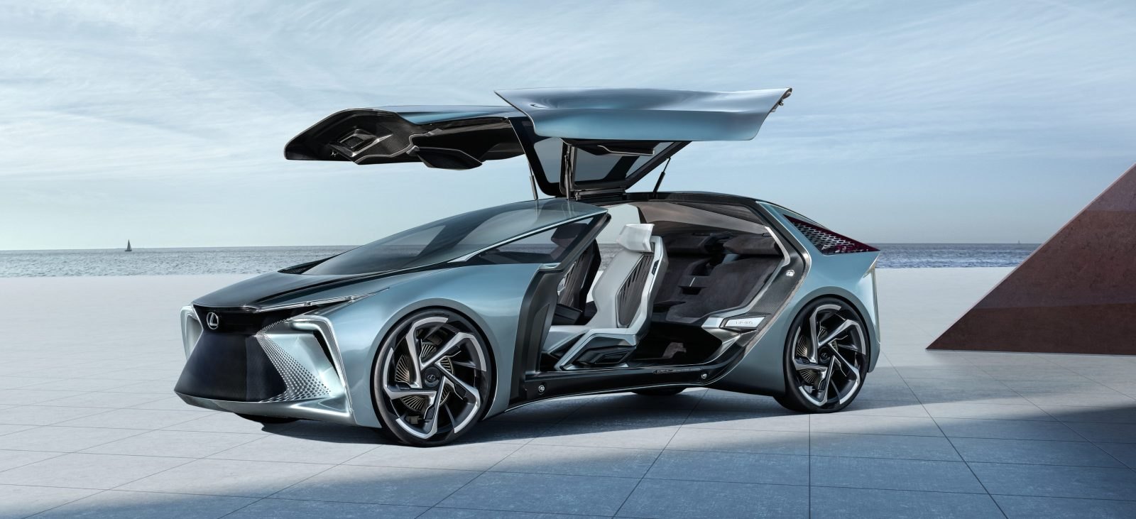 Lexus unveils crazy-looking electric concept with giant gull wings, announces first BEV