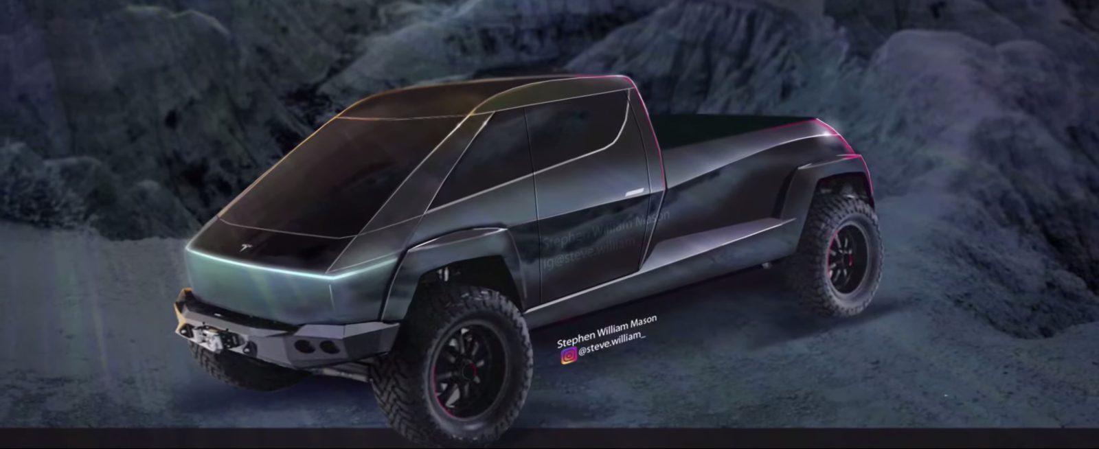 Tesla Pickup truck rendered based on teaser image and comment