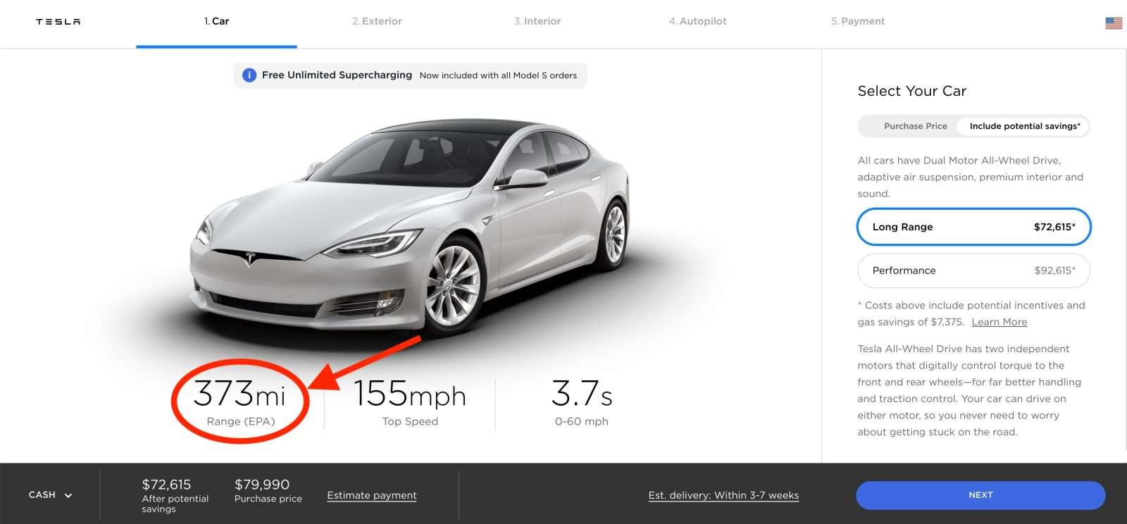 Tesla increases Model S and Model X range, now tops at 373 miles