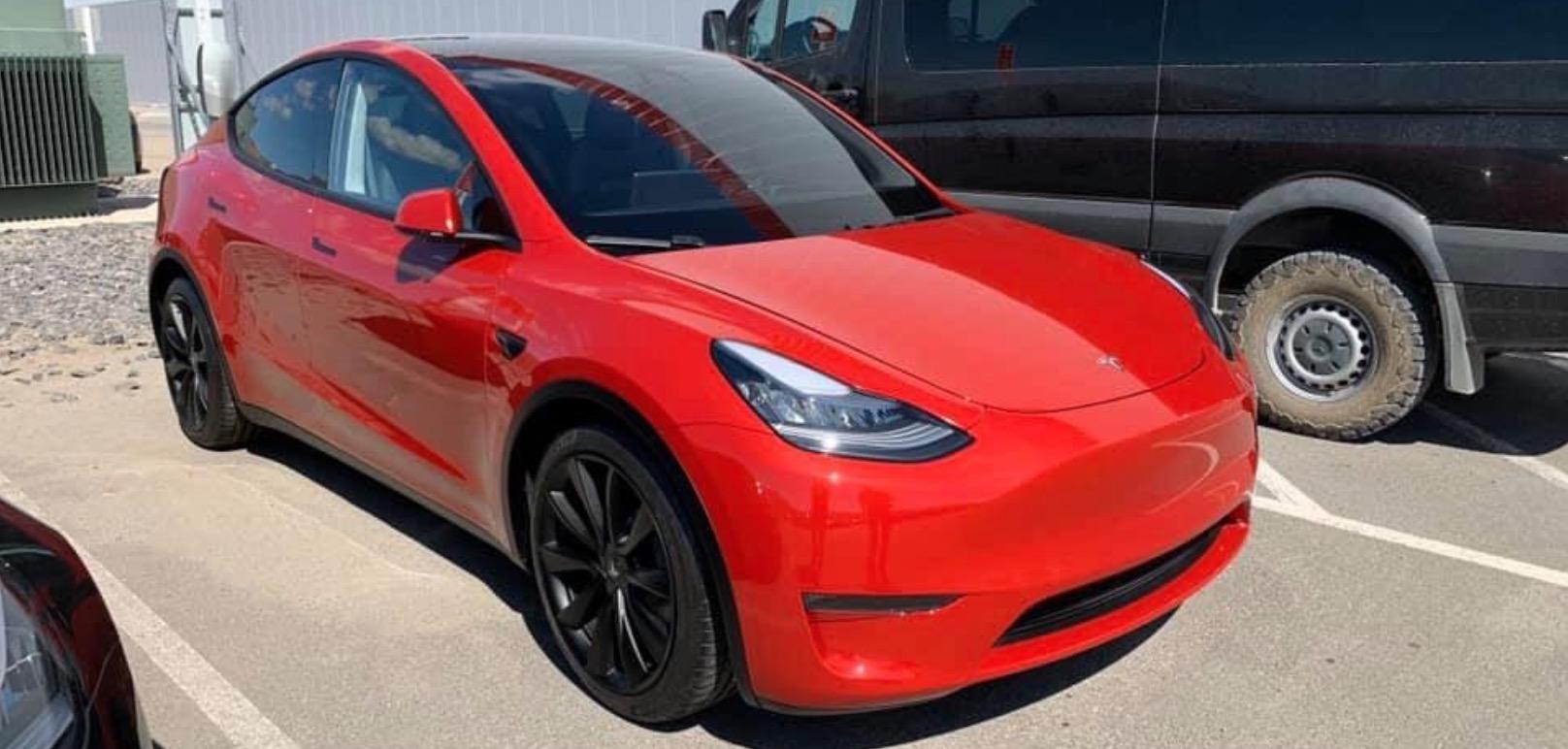 Tesla Model Y: beautiful new bright red prototype spotted at Gigafactory 1 - Electrek