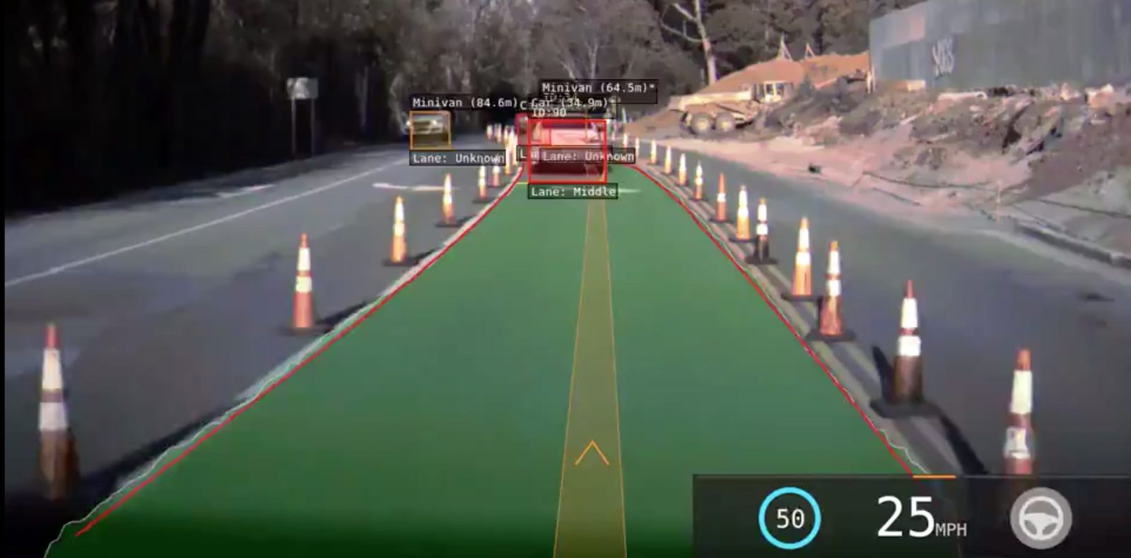 Watch Tesla Autopilot handle a construction zone with traffic cones