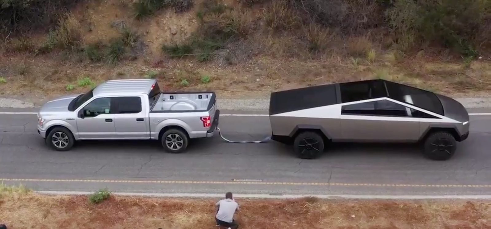 Watch Tesla Cybertruck in tug of war against Ford F150 and size comparison