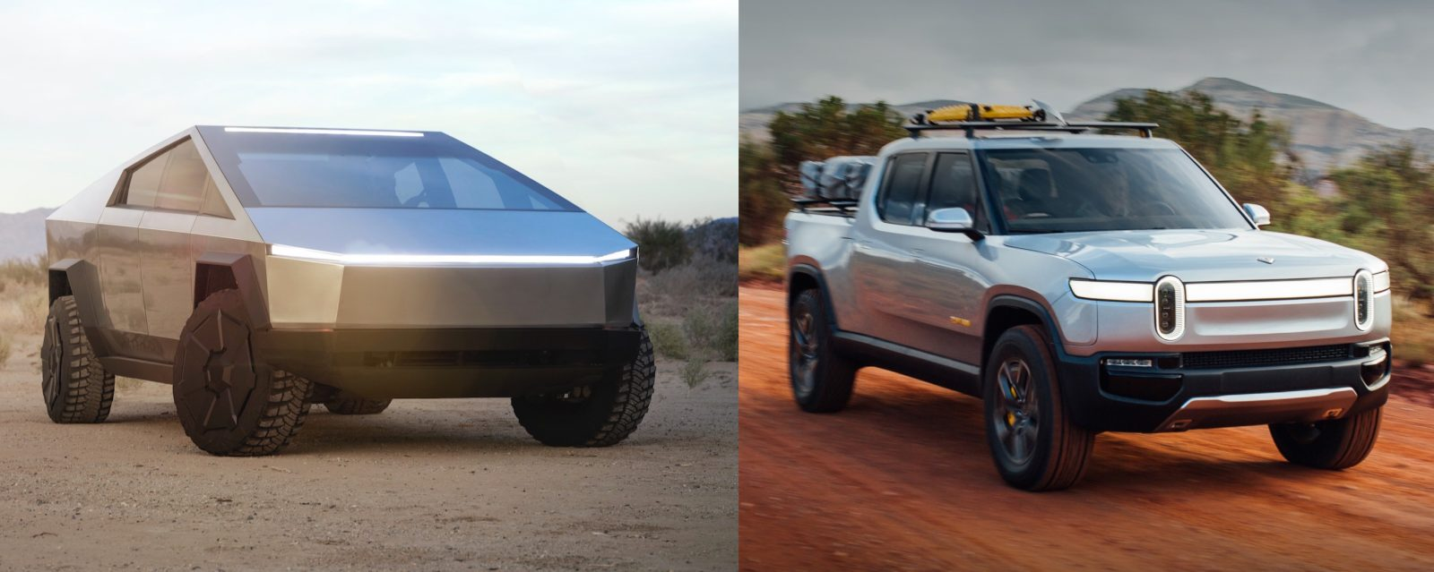 Tesla Cybertruck vs Rivian R1T electric pickup comparison – shocking lead from Tesla
