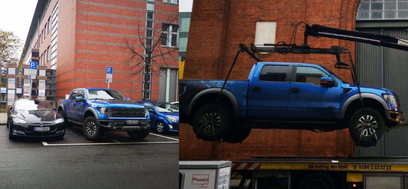 Tesla ICEd by pickup truck gets satisfying justice as police lift it off with crane