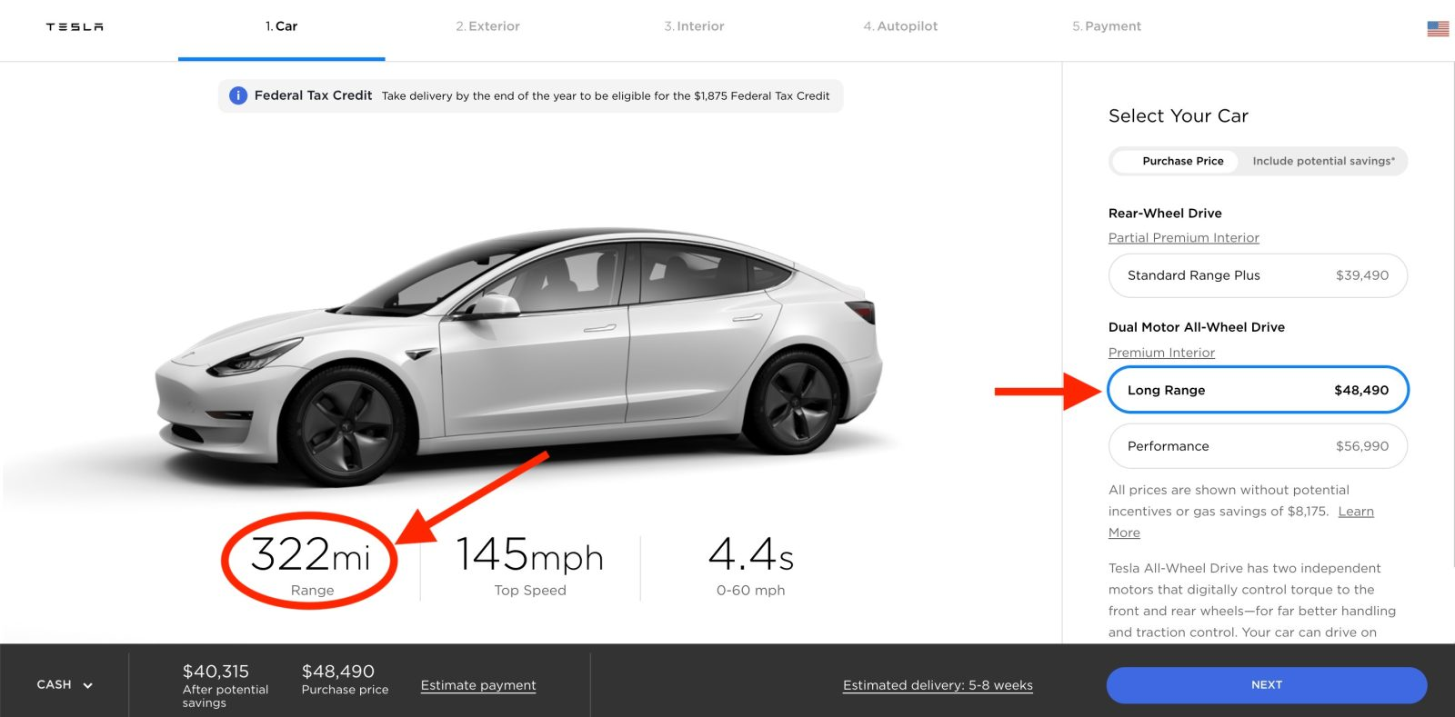 Tesla increases range and price of the Model 3 Long Range