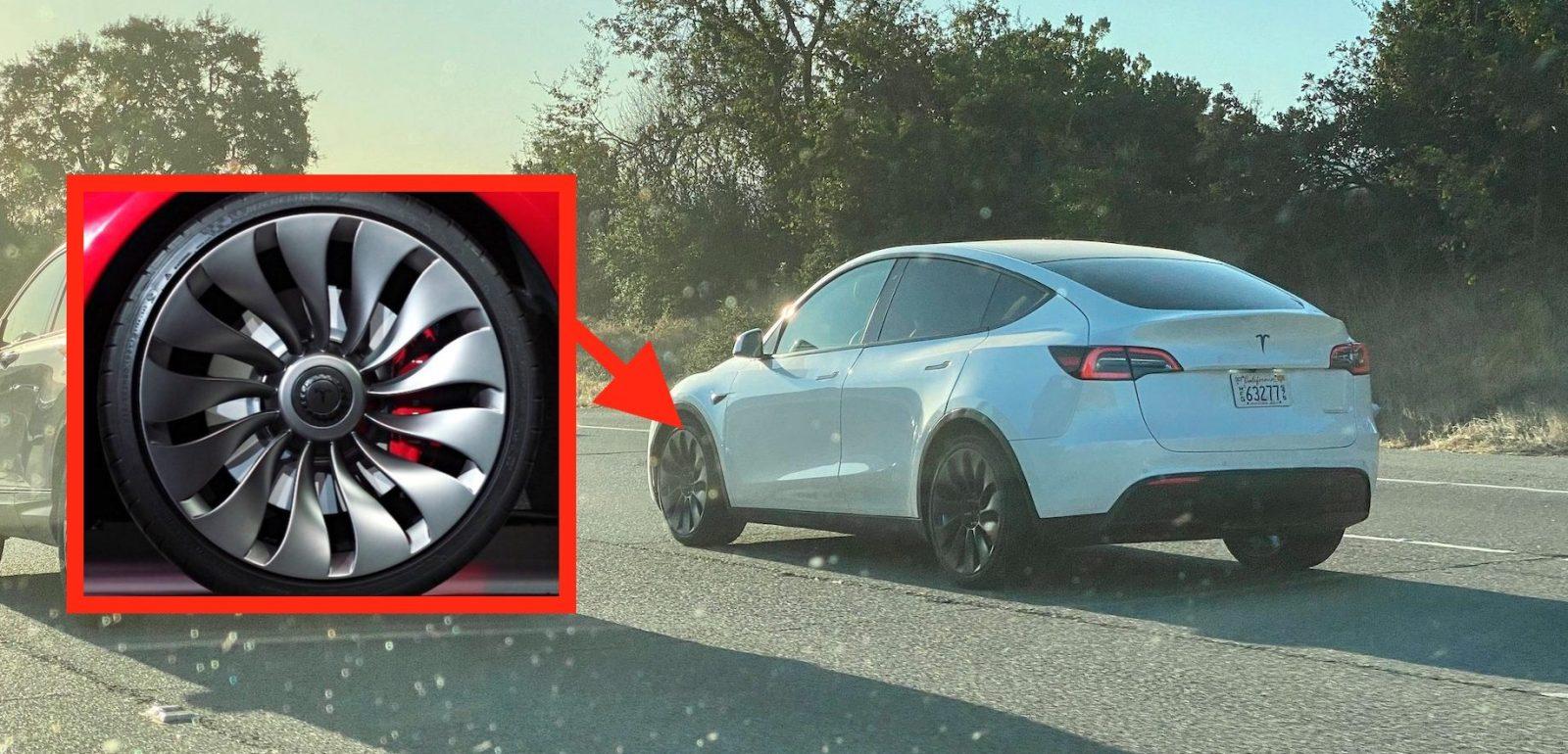 Tesla Model Y prototype spotted with unreleased Model 3 unveil wheels