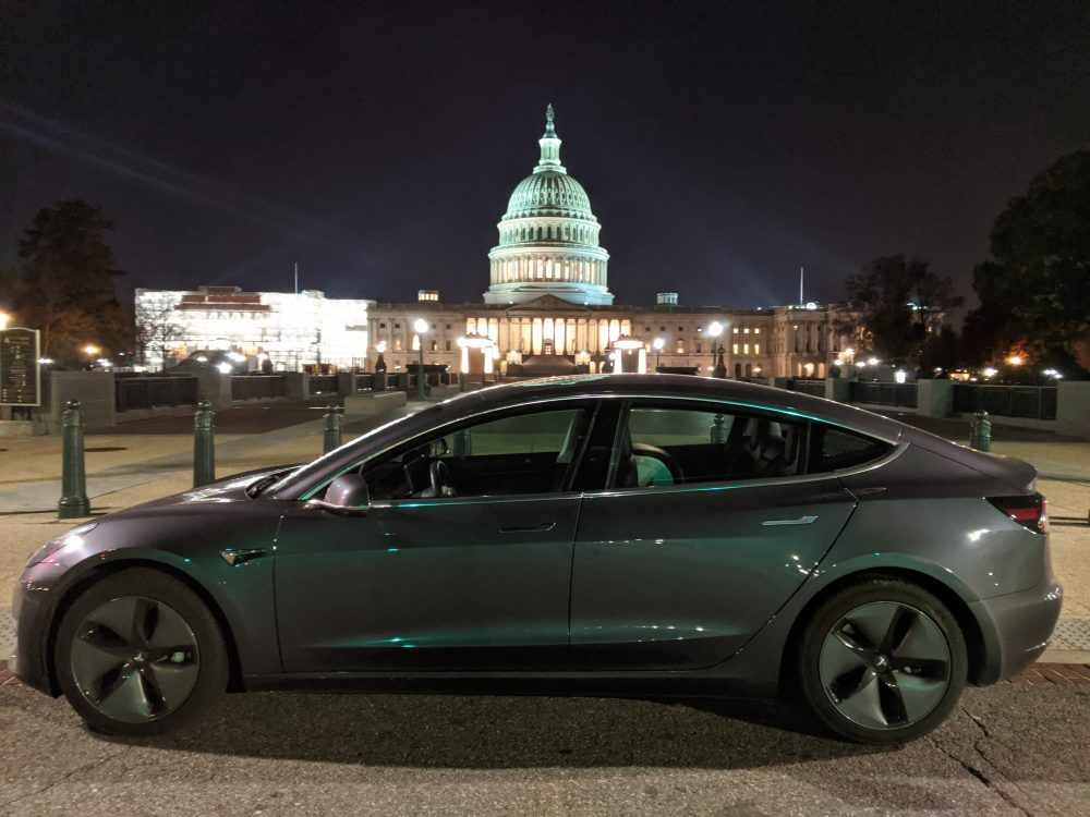 Tesla Model 3 Mid range in front of Congress, Capitol Hill