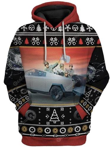 Tesla CyberTruck ugly Christmas hoodie