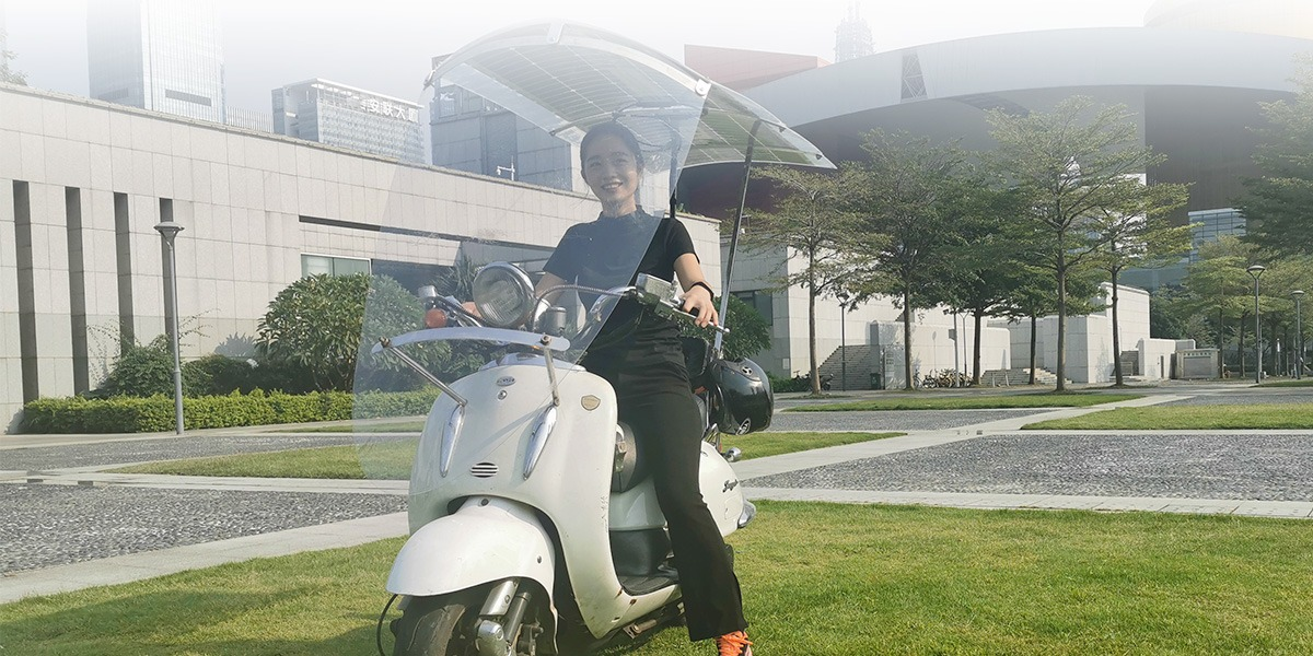 Solar Charging Canopy Designed As Universal Electric Scooter Charger