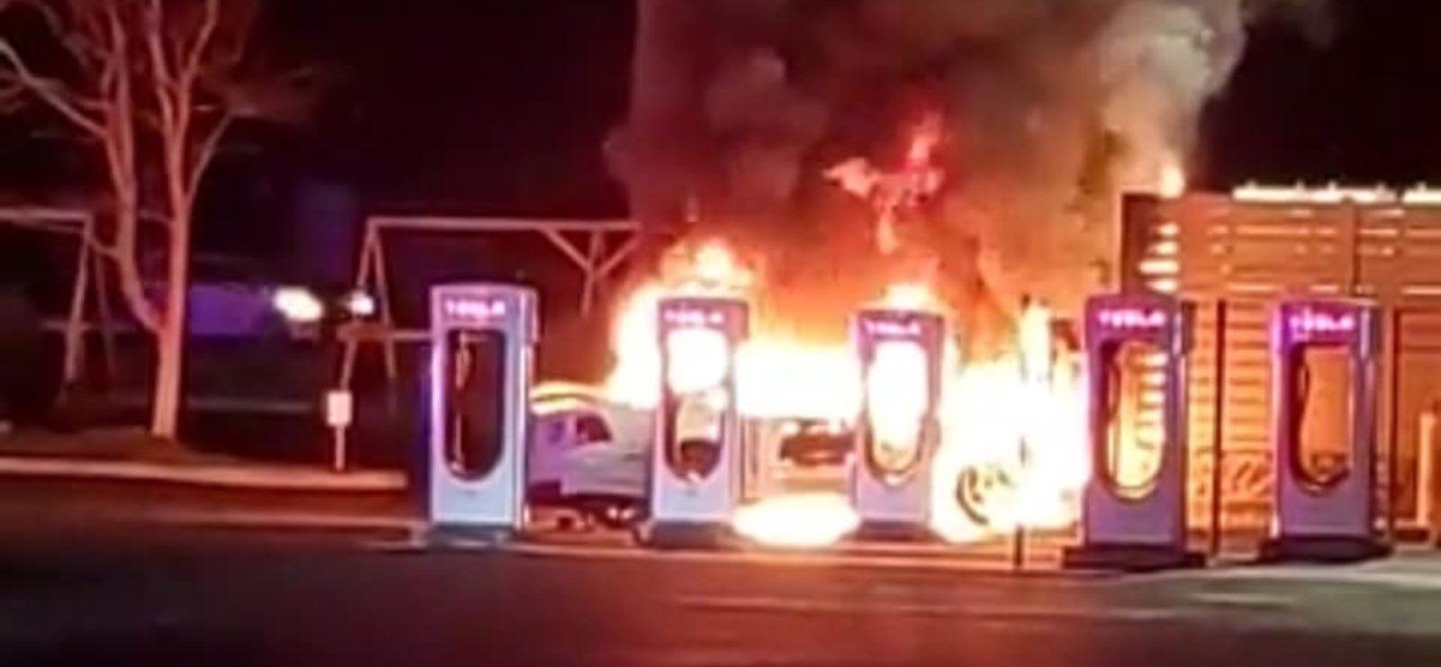 Tesla Supercharger station partly destroyed by car engine fire after drunk driving crash
